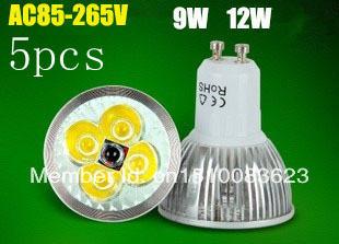 5PCS High Power CREE GU5.3 (GU10 MR16 E27 E14) 4X3W 12W LED Spotlight led lighting led bulb 85-265V(110V,220V) free shipping