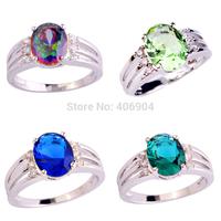 Wholesale Fashion NEW Jewelry Oval Cut Rainbow Topaz Green Amethyst Sapphire Quartz 925 Silver Ring Size  6 7 8 9 Free Shipping