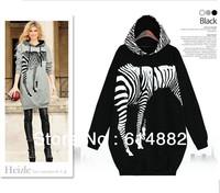 Free Shipping Wholesale Women's Fashion Hoodies Zebra Hoodies Plus Size CL182