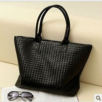 Hot selling women's PU leather handbags hand held shoulder bag large capacity PU Woven Bags Fashion Design and Free Shipping