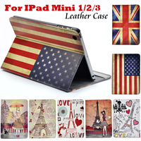Paris Eiffel Tower Smart Stand PU Leather case For apple Ipad Mini Mini 2 Retina US UK Flags Pink Girl Ferris Wheel Holder Cover