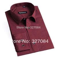 High quality 100% cotton 2015 new spring fashion Polka Dot shirts dress shirt Long sleeve Slim Fit size xxxl Free Shipping YH03