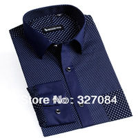 2013 Korean Fashion Men Polka Dot Long Sleeve Casual Shirt/Brand Dress 100% Cotton Fine workmanship Free Shipping