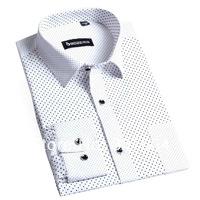 BOZE Fashion Polka Dot Long sleeve Shirts For Men Luxury Slim-type 100% Cotton Big Size S-4XL Free Shipping