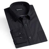 100% Cotton Brand Polka Dot Slim Fit Fashion Shirts dress shirt black Long sleeve High quality size xxxl Free Shipping YH02