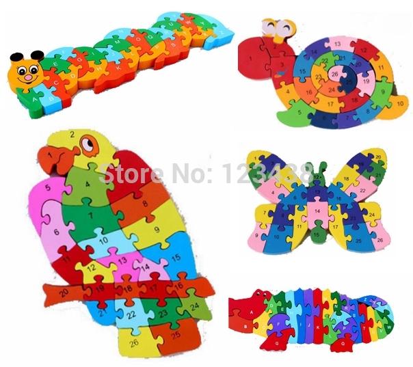 Double Sides Wooden Giraffe Thomas Train Puzzle Children Kids Alphabet Letter Mathemetics Number ABC / 123 Jigsaw Toy Digital(China (Mainland))