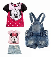 Cute Cartoon Minnie Mouse Baby T Shirt + Jeans Shorts Overall for Girl Summer Clothes Kids Suits Fashion Children Clothing Set