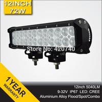 12inch 72W Cree LED Light Bar Spot Flood Combo Beam Offroad Light 12V 24V LED Work Lamp For JEEP ATV SUV 4WD 4X4 Boating Hunting