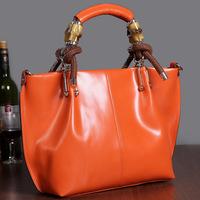 New 2014 Women's Genuine Leather Handbag Real Natural Cowhide Shoulder Messenger Bag Fashion Famous Brands Designer Vintage Bags