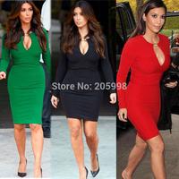 2015 sale winter casual red Womens black Vintage Bodycon Stretch business women's Pencil office long sleeve women warm Dress 241