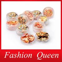 Nail Art Stickers Decorations,12pcs/set Colorful Aluminum UV Gel Polish Nail Foil Decals Wraps,3d Glitter Nail Accessories Tools
