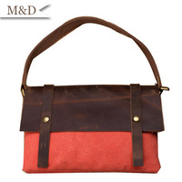 New Fashion British Style Brand  Bad Youth Bag Genuine Leather & Canvas Messenger Bag Free Shipping