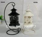 Metal Wrought Iron Pillar Tea Light  Candle Holder Stand Black/White Antique Design For Weddings Table Decoration Wholesale(China (Mainland))
