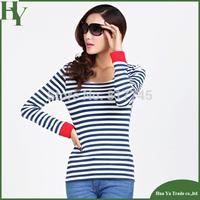 E04 Fashion Korean New Women's Clothing  O-Neck Blue White Striped Long T-Shirt
