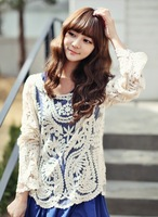 New Autumn Sweet and Sexy Hollow Long Sleeve Blouse Lace Shirt    J2