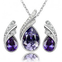 Fashion 18K Gold Plated Austrian Bridal Accessories Angel wings Crystal Necklace/Earrings Jewelry Sets