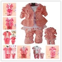 hot sell newborn Baby girl clothing,Cute bow lace suit coat+shirt+pants 3pcs baby girls clothing set,multi style conjuntos cloth