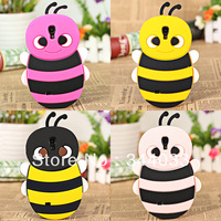 Wonderful Cartoon Bee Pattern Soft Silicone Material Case Cover for Samsung Galaxy S4 i9500 - Plum Free shipping