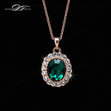 DFN247 Emerald Elegant CZ Diamond 18K Gold Pated Green Crystal Necklace & pendants Fashion Jewelry For Wonem Gifts colares joias