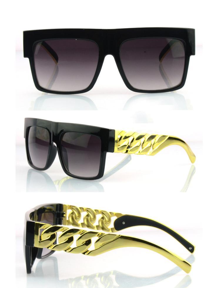 Metal Arm! New 2014 Kim Kardashian Beyonce Celebrities Style Flat Top Men Women Metal Gold Chain Twisted Riskier Sunglasses(China (Mainland))