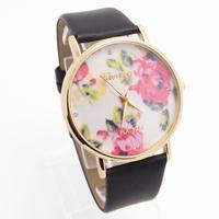 2015 New Arrive 3 Colors Geneva Rose Flower Design Leather Strap Watch Women Ladies Fashion Dress Quartz Wristwatches go062