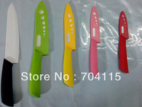 """Free Shipping White Blade Muti-Color  """"3""""+""""4""""+""""5""""+""""6""""+""""7"""" inch Ceramic Knife Set For Kitchen"""