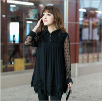 Lovely new Korean sexy Dress flower lapel long sleeve dress Elegant Fat Women plus Size Basic Shirt  big Size Clothing Tops Tees