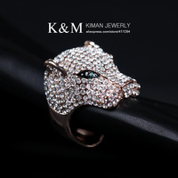 (Min order is $10) New Design Rhinestone Ring Crystal Tiger's Head Design for Women Free Shipping Mixed Order is Accepted