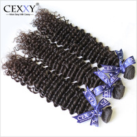 Cexxy Hair Products 3PCS/LOT Virgin Malaysian Deep Wave Human Hair Weaves Natural Color Free Shipping DHL