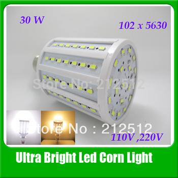 Big Promotion High Brightness Led Lamp 30W 2800lm 102Leds 360 degree 5630 Corn Bulb 110v / 220V E27/E14/B22/E26 Light For Home