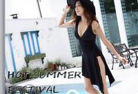 2015 Plus Size Swimwear Black One Piece Swimsuit Dress Bathing Suits Swimming Suit for Women Maillot De Bain Sexy Monokini 1237