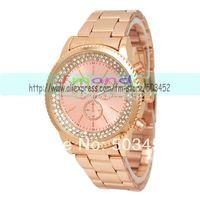 2014Rose Gold Stylish Double Row Crystal Watch,No Geneva Logo Alloy Watch Wrap Quartz Ladies Watch ,50pcs/lot,3Colors For Option