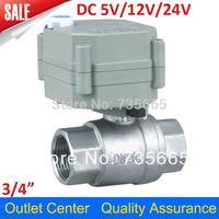 """3/4"""" DN20 DC5V/12V/24V Electric Valve,Stainless Steel 304 Motorized Ball Valve T20-S2-B,CR2-01 Wires"""