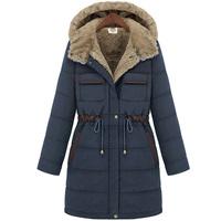 Free shipping!2013 Winter womenew  fashion slim down jacket female thickening liner medium-long cotton-padded jacket A101