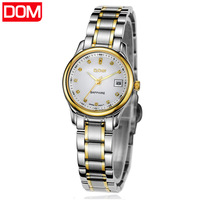 New 2013 fashion trend women's dress watch Dom calendar ultra-thin 200m waterproof stainless steel watch lovers pair watch