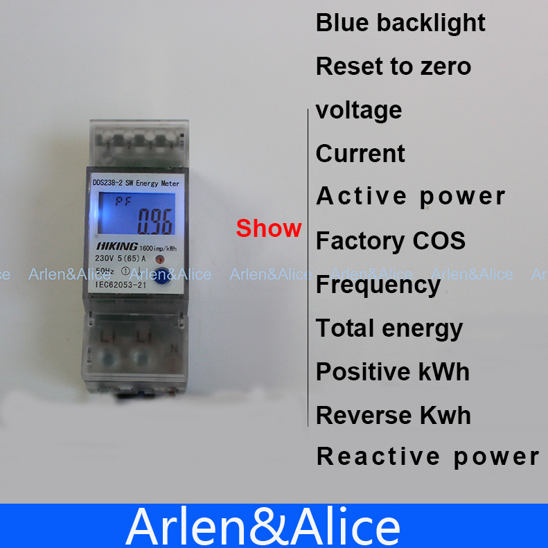 5(65)A 230V 50HZ display voltage current Positive reverse power reset to zero Single phase Din rail KWH Watt hour energy meter(China (Mainland))