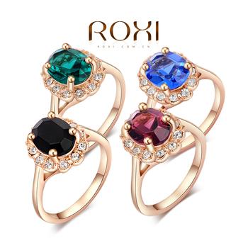 Классические кольца Рокси, роза позолоченные высокое качество делают с подлинными австрийскими кристаллами четыре цвета, ювелирные изделия, 2010012325