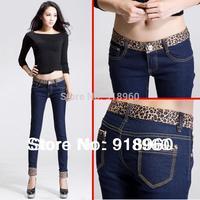 new sale leopard-print Jeans Women's denim pants/good quality fashion ladies' Pencil Slim jeans/patchwork Skinny Pants/Wts