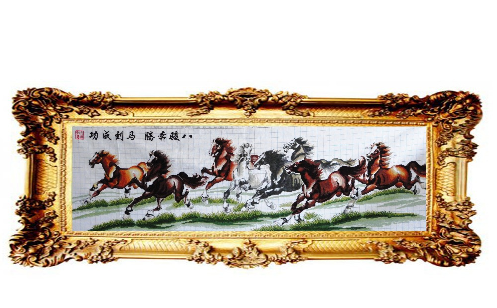 100% pure handmade cross-stitch series KEC genuine monopoly animal D079 Eight Horses (four) Finished(China (Mainland))