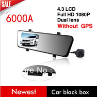 new 6000A Car Rearview Mirror Camera Recorder DVR Dual Lens 4.3' TFT LCD HD 1920x1080p Rear view camera 720P with G-sensor