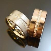 Luxury brand Italian acessorios ring full crystal imitated diamond titanium steel rings men women promise ring jewelry gifts