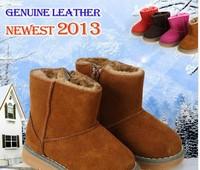 Hot sale! 2014 Fashion Children Girls&Boy's Winter Warm Waterproof Genuine Leather Snow Boots