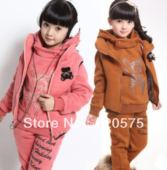 Children Winter Clothing Sets Fleece Thick Coats Vest Jackets Pants Three pcs for Winter with fleece thick warm teenager clothes