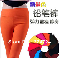 2013 New Hotsale Fashion 4seasons Women's  High Waist Candy Colors High Elastic Solid Cotton Pencil Pants Freesize Factory Price