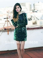 2013 new arrival high quality  Fashion Women Autumn Celebrity O-Neck green  Long Sleeve Sequin Dress wholesale purple .wine red