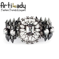 Artilady 2014 punk design spike rhinestone bangles jewelry fashion crystal women bangle