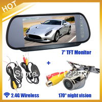 "Free Shipping by HongKong Post Air Mail , Wireles Car Rear View Kit HD Night vision Camera+7"" TFT Mirror Moniter+Adapter"