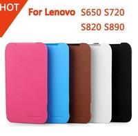 High Quality lenovo Leather flip Case 100% Original Lenovo S650 S720 S820 S890 Flip PC Hard Back Cover + Front Leather Case