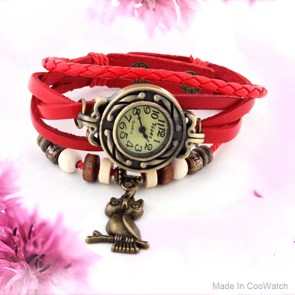 PU Leather Strap Casual Watch Women Dress Watches Owl Pendant Vintage Quartz Analog watch Free shipping(China (Mainland))