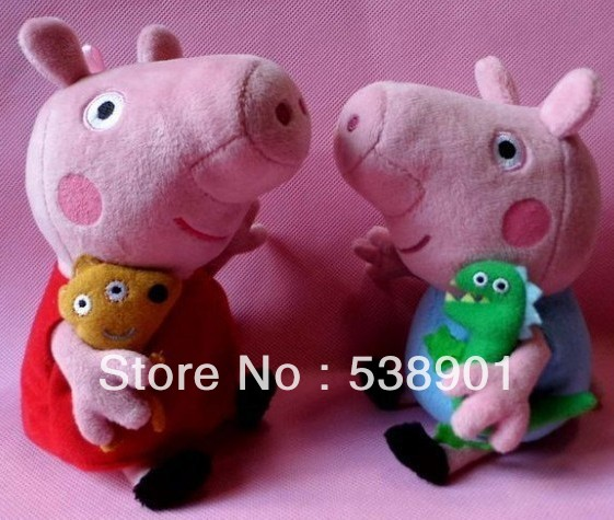 Free shipping Retail Simple 19cm Cute Peppa Pig With Teddy Bear George Pig Plush Doll Toy Stuffed Plush Cartoon Plush Kids Gift(China (Mainland))